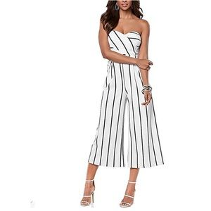Pants - NWOT White and black stripe cropped jumpsuit